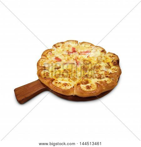 Delicious pizza on wooden round desk isolated white background