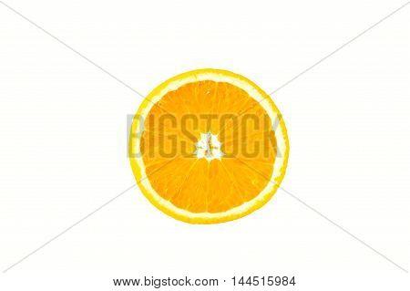 Half of  orange on a white background