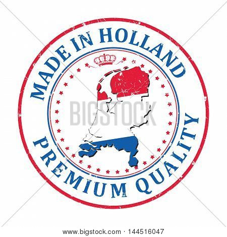 Made in Holland, Premium Quality - grunge printable label, with dutch flag colors and map. CMYK colors used.