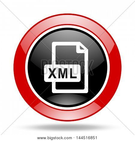 xml file round glossy red and black web icon