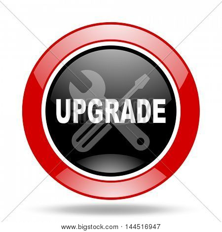 upgrade round glossy red and black web icon