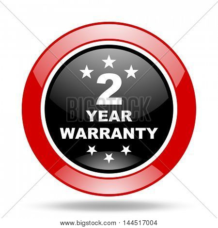 warranty guarantee 2 year round glossy red and black web icon