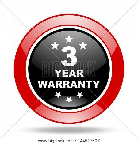 warranty guarantee 3 year round glossy red and black web icon