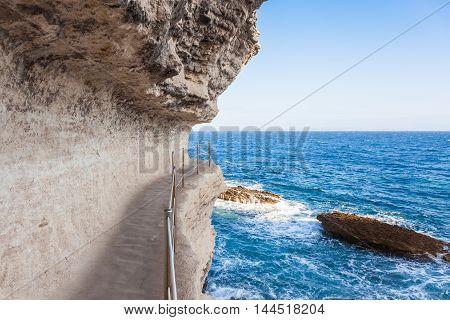 King Aragon Stairs Steps In  Bonifacio Cliff Coast Rocks, Corsica Island, France