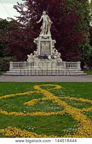 VIENNA, AUSTRIA - APRIL 15, 2015: The Mozart monument in Vienna.