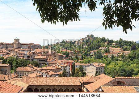 Panorama Of Upper City Citta Alta With Hill San Vigilio In Bergamo, Italy