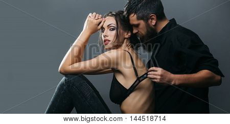 Sexy Couple Of Woman And Bearded Man