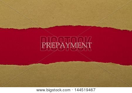 PREPAYMENT word written under torn paper .