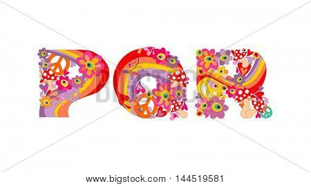 Hippie childish alphabet with colorful abstract flowers, rainbow and mushrooms. P, Q, R