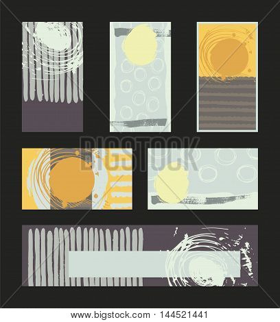 Vector collection of pastel colored business vertical and horizontal cards and banner hand drawn with liquid ink and brush with splashes stripes and imperfections. Set of isolated on black designs