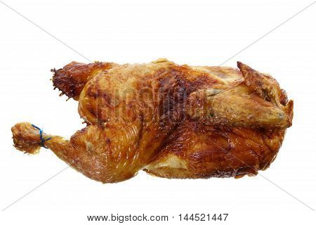 Whole Roast Chicken on a White Background