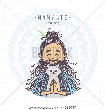 Character man in greeting pose namaste with cute cat. Vector illustration. Practicing Yoga