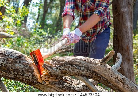 Portrait of an attractive young lumberjack who chopping wood with an ax