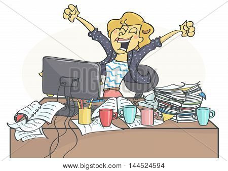 Successful, happy business woman or a clerk sitting at office table, cheering because of business success.