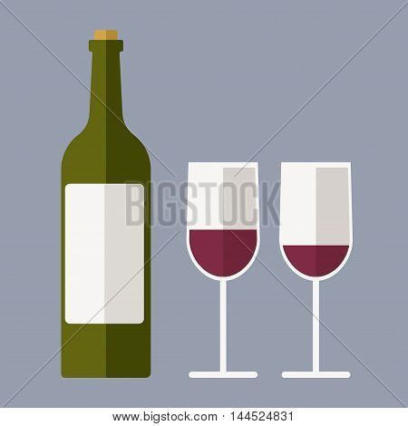 Red wine bottle and two glasses. Flat vector stock illustration.