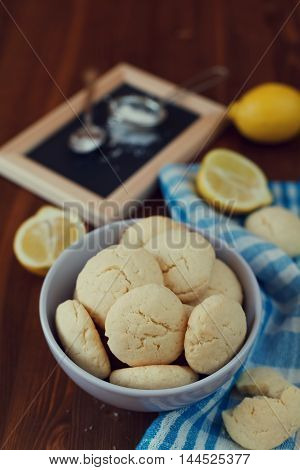 Homemade lemon cookies, biscuit Shortbread. Top view. Flat lay.