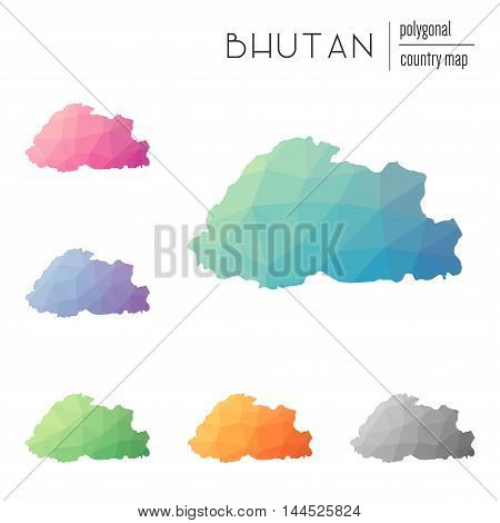 Set Of Vector Polygonal Bhutan Maps. Bright Gradient Map Of Country In Low Poly Style. Multicolored