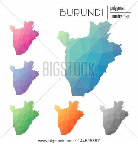 Set Of Vector Polygonal Burundi Maps. Bright Gradient Map Of Country In Low Poly Style. Multicolored