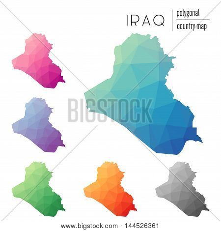 Set Of Vector Polygonal Iraq Maps. Bright Gradient Map Of Country In Low Poly Style. Multicolored Ir