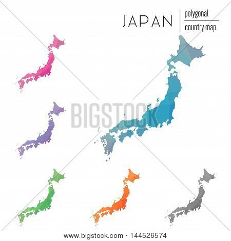 Set Of Vector Polygonal Japan Maps. Bright Gradient Map Of Country In Low Poly Style. Multicolored J