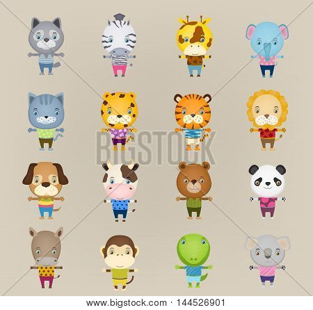 set of cartoon cute animal standing wearing t-shirts and trousers. vector illustration