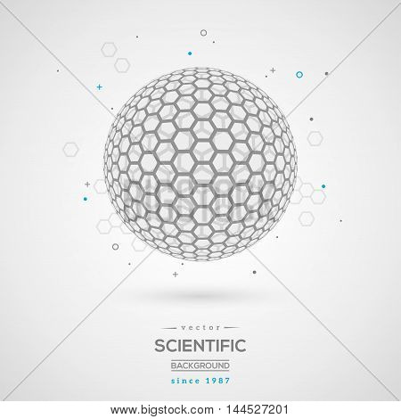 3D Abstract Sphere - Fullerene. Wireframe Particle. Vector Illustration. Geometric Technology Graphic Element.