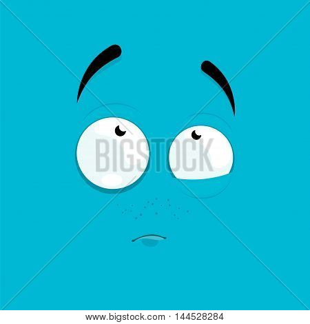 Cartoon face with a thoughtful expression on a blue background.