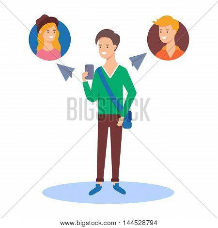 Vector illustration of a man sending messages to his friends using a messenger app