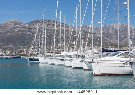 Yachts in marina, Town of Bar, Montenegro, Adriatic Sea