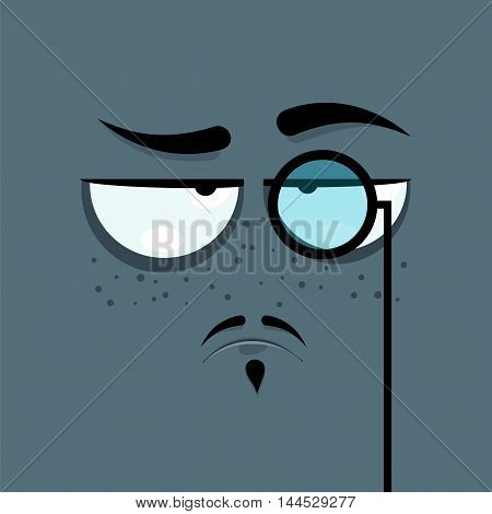 Cartoon face with haughty expression on gray background.