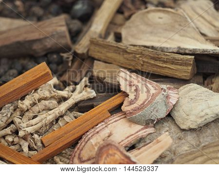 Close Up Of Dried Thai Herbs And Spices