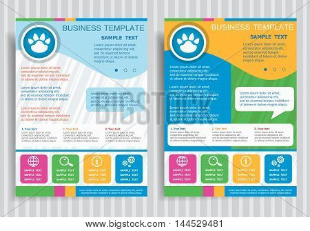 Paw Vector Icon On Vector Brochure Flyer Design Layout Template