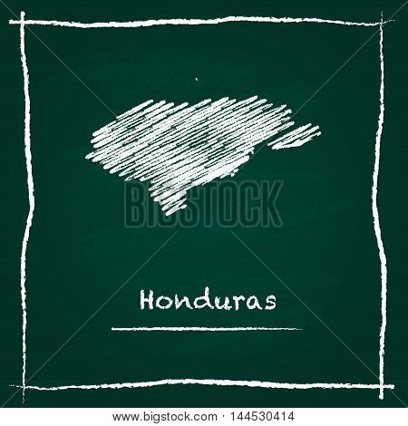 Honduras Outline Vector Map Hand Drawn With Chalk On A Green Blackboard. Chalkboard Scribble In Chil