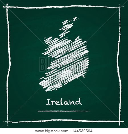 Ireland Outline Vector Map Hand Drawn With Chalk On A Green Blackboard. Chalkboard Scribble In Child