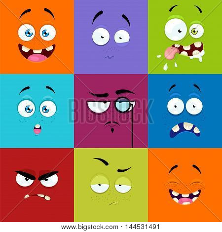 Set of cartoon faces with expression of emotions. Set of nine bright emotional avatars.