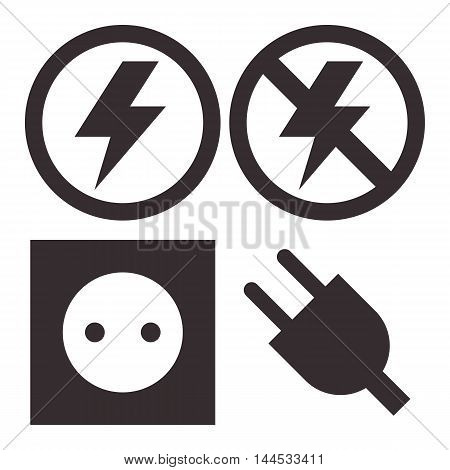 Plug socket lightning and no lightning icons isolated on white background