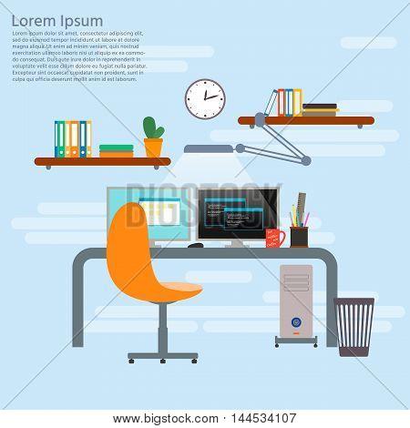 Concept for programmer working place. Programmer or developer workspace office interior in flat design. Vector illustration.