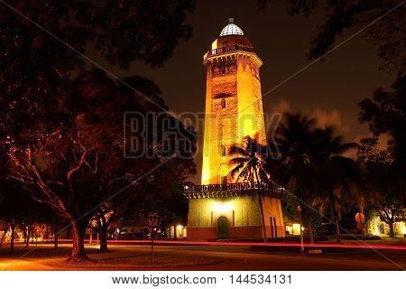 Historic Alhambra Water Tower in the city of Coral Gables near Miami, Florida