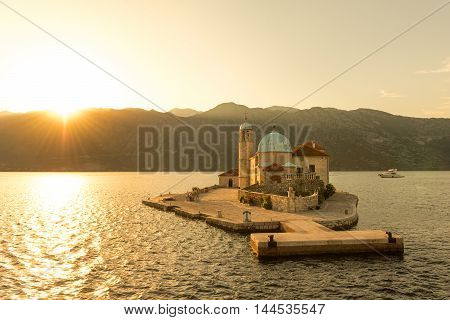 Our Lady of the Reef Island Church near Perast in the Bay of Kotor, Montenegro