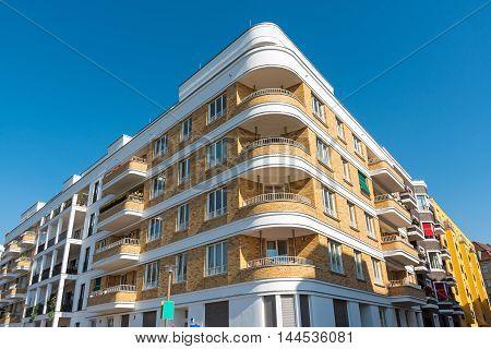 Modern apartment block seen in Berlin, Germany