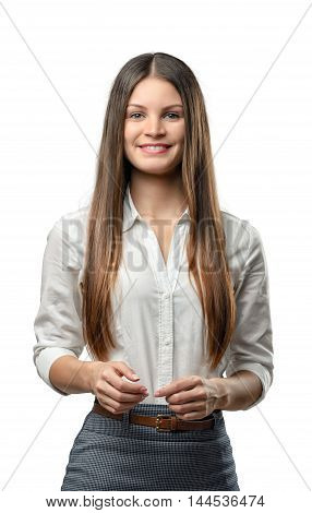 Cutout business woman looks directly at the camera. Smart staff. Success and development. Business staff. Office clothes. Dress code. Presentable appearance.