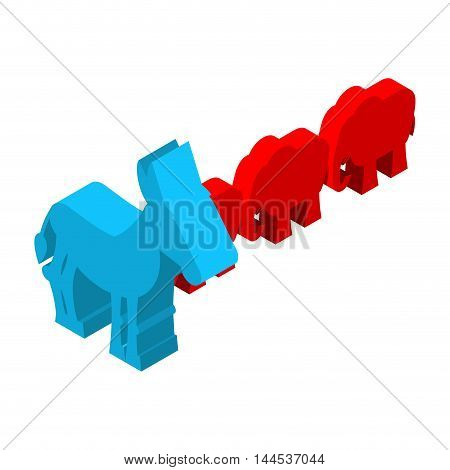 Red Elephants Against Blue Donkey. Symbols Of Usa Political Party. Democrats Vs Republicans. Electio