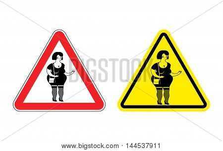 Warning Sign Prostitute Attention. Dangers Yellow Sign Paid Love. Woman With Red Triangle. Set Of Ro