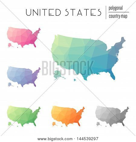 Set Of Vector Polygonal United States Maps. Bright Gradient Map Of Country In Low Poly Style. Multic