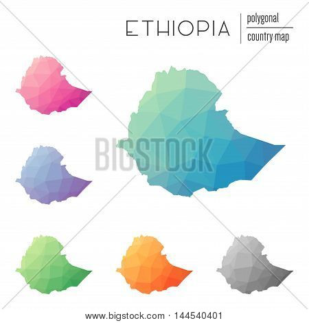 Set Of Vector Polygonal Ethiopia Maps. Bright Gradient Map Of Country In Low Poly Style. Multicolore