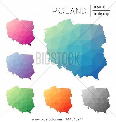 Set Of Vector Polygonal Poland Maps. Bright Gradient Map Of Country In Low Poly Style. Multicolored