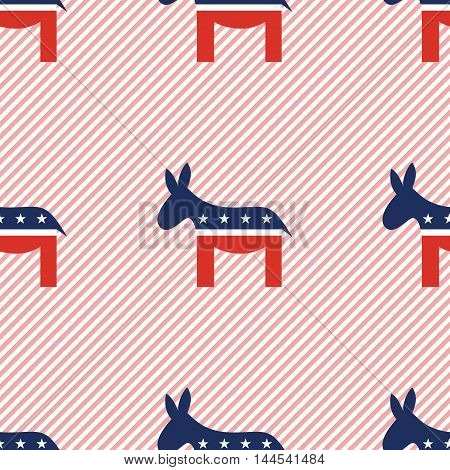 Democrat Donkeys Seamless Pattern On Red Stripes Background. Usa Presidential Elections Patriotic Wa