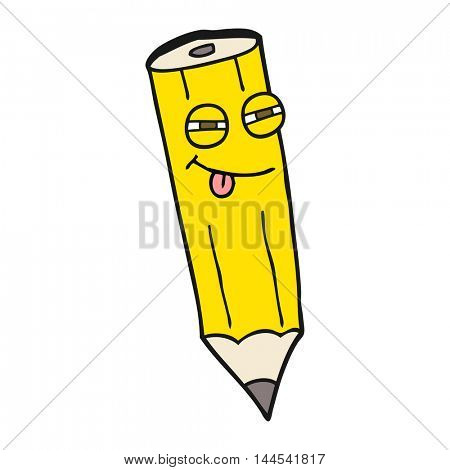happy freehand drawn cartoon sly pencil