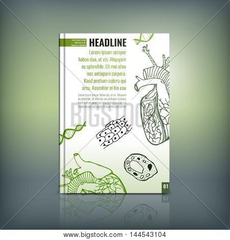 Vector handdrawn biology brochure cover template. Modern backgrounds for poster, print, flyer, book, booklet, brochure and leaflet design. Editable graphic collection in white, black and green colors