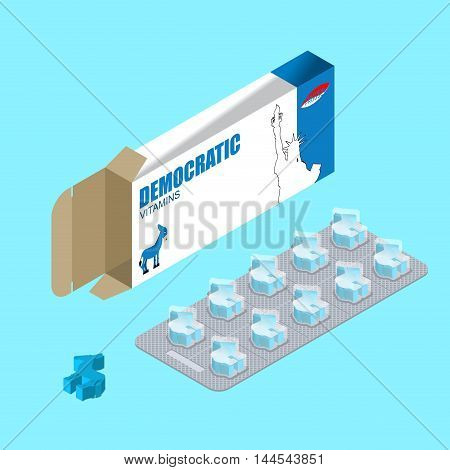 Democratic Pills In Pack. Political Vitamins. Tablets In Blister. Natural Health Products In Form Of